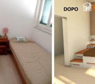 camera da letto in legno soppalco