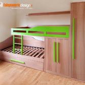 cameretta legno verde soppalco