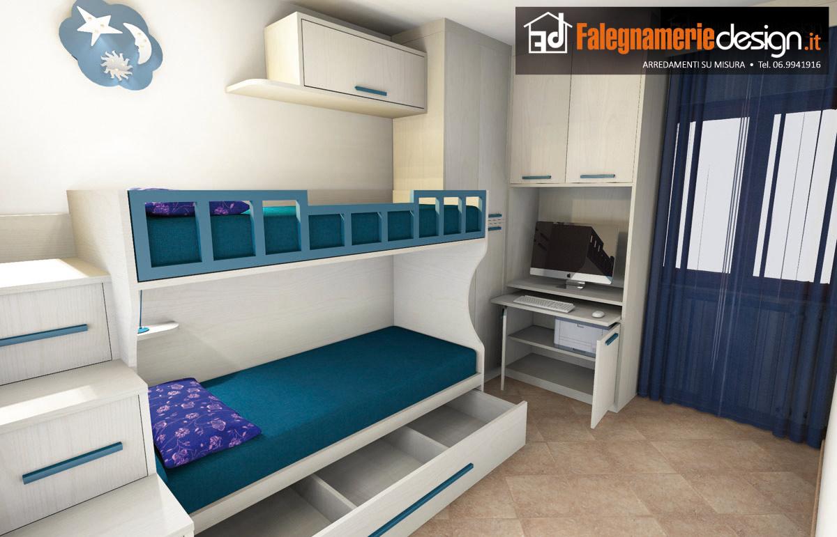 Cameretta per piccoli spazi soppalcata arredamenti e mobili su misura roma - Camerette piccoli spazi ...