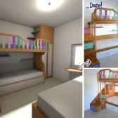 camera con scale contenitori in legno