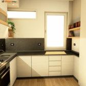 cucina in legno di rovere bianco grigio