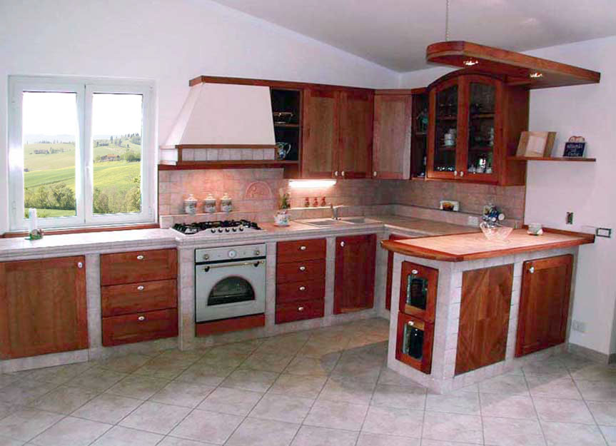 Cucine in muratura roma su misura falegnamerie design - Cucina rustica muratura ...