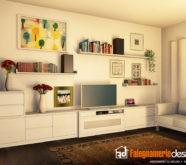 disegno 3d soggiorno in legno