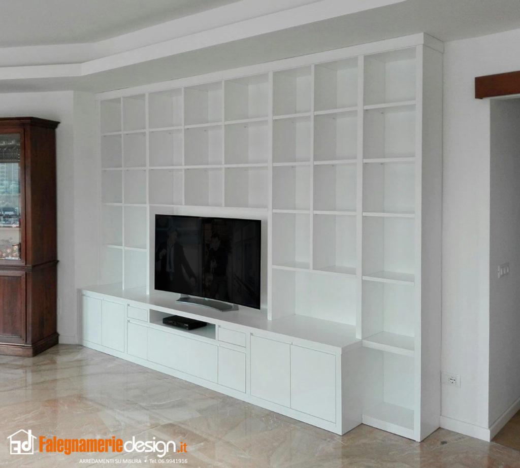 Pareti attrezzate su misura roma falegnamerie design for Parete attrezzata bianca e nera