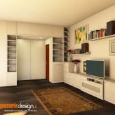 render 3d soggiorno in legno