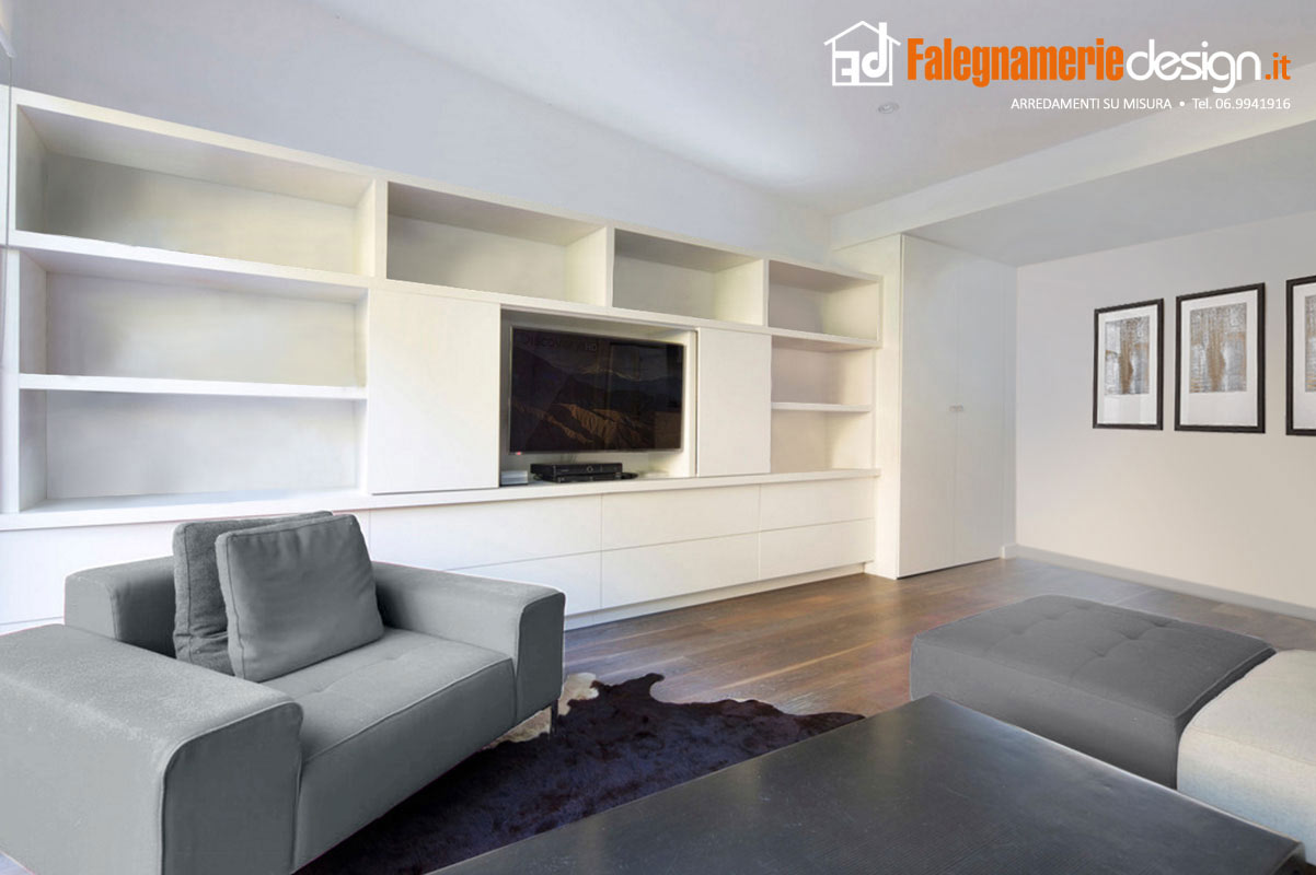 Soggiorno parete attrezzata su misura arredamenti e - Mobili soggiorno su misura ...
