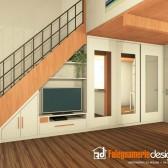 sottoscala con parete attrezzata legno