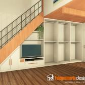 sottoscala con parete attrezzata legno2