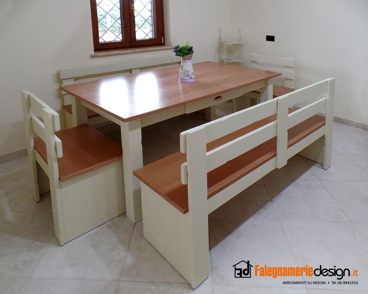 Tavolo con panca in legno arredamenti e mobili su misura - Tavoli su misura roma ...