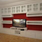 foto parete attrezzata in legno con tv