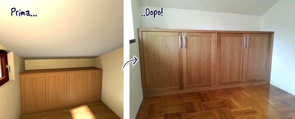 prima e dopo armadio a muro