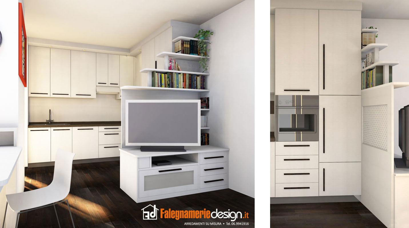 divisorio con porta tv - arredamenti e mobili su misura roma - Mobili Tv Su Misura