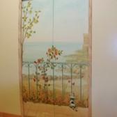 porta divisoria in legno decorato