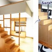 progetto 3d arredamento soppalco in legno su misura