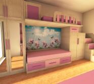 camera bambina in legno su misura