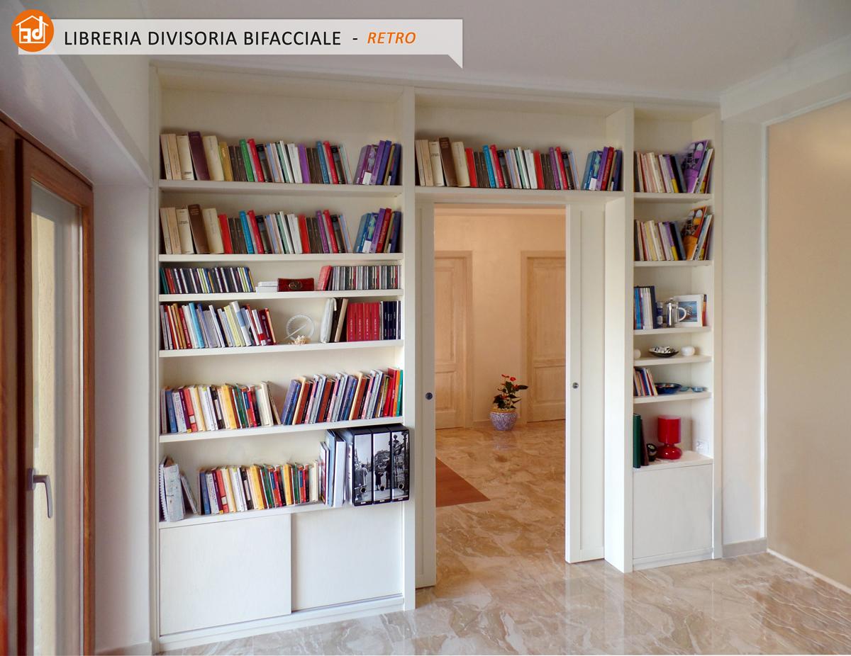 Librerie BIFACCIALI su misura, costruite in vero LEGNO