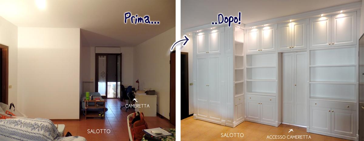 Librerie bifacciali su misura costruite in vero legno - Pareti divisorie mobili per interni ...