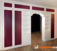mobile libreria bifacciale legno rosso