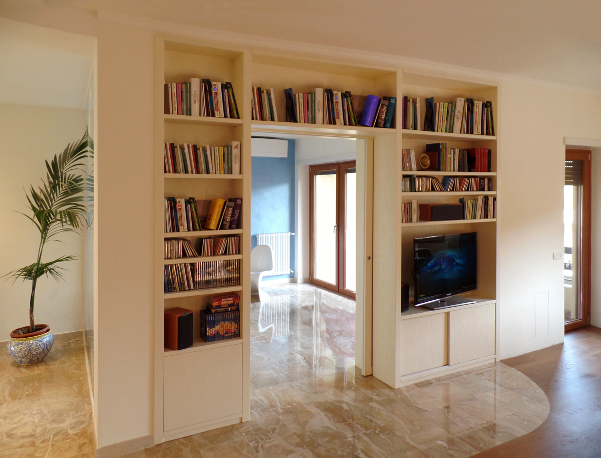 Pareti attrezzate su misura roma falegnamerie design - Armadi da soggiorno ...