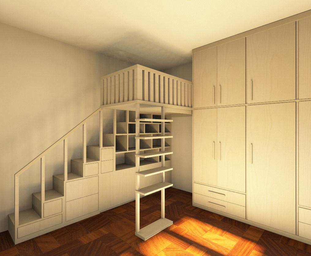 Camera da letto su soppalco: vista della moderna ricostruita ...