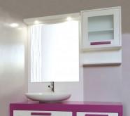 mobile bagno rosa bianco legno