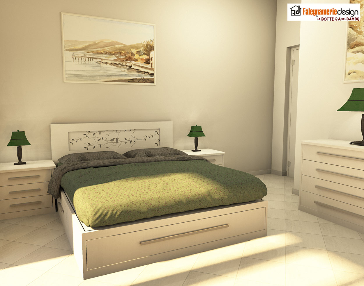 Testata letto personalizzata decoro foglie arredamenti e mobili su misura roma - Testata letto design ...