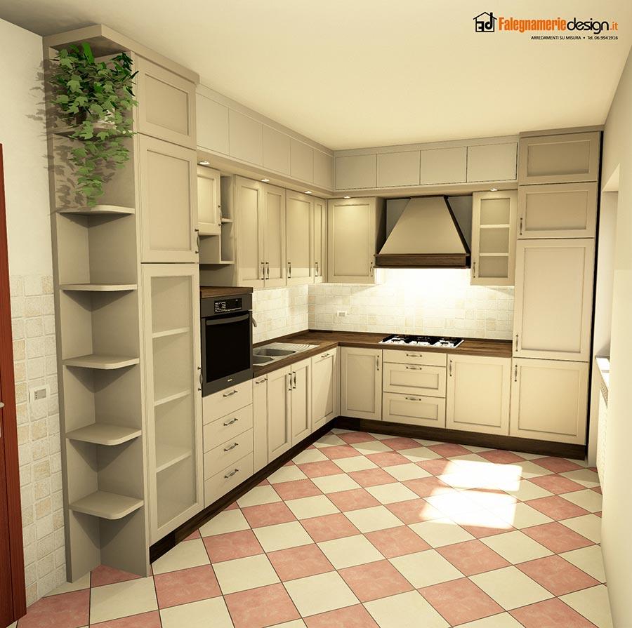 Cucina con pensili alti a muro