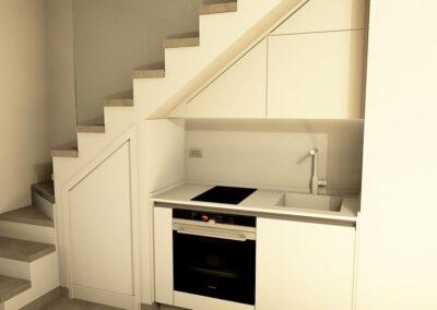 Cucina piccola su misura nel sottoscala