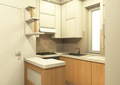 cucina in legno per tinello con pensili alti